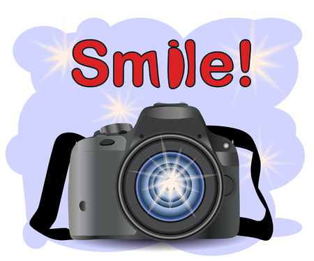 Realistic modern CAMERA on a blue background with flashes, photographer equipment. Inscription Smile