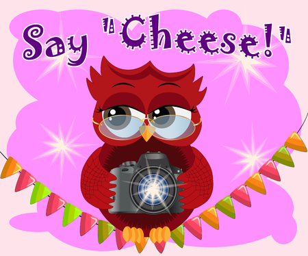 A red flirtatious cartoon owl sits on a garland of flags with a camera and photographs. Photographer, paparazzi, reportage. Inscription Say cheese Illustration
