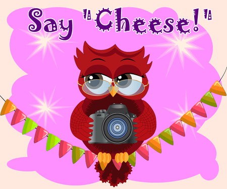 A red flirtatious cartoon owl sits on a garland of flags with a camera and photographs. Photographer, paparazzi, reportage. Inscription Say cheese Illusztráció
