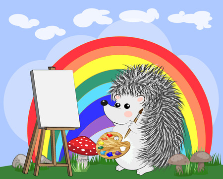 Artist hedgehog paints a picture of landscape in the nature. The concept of art, love. Cartoon landscape with sun, clouds, flowers Illustration