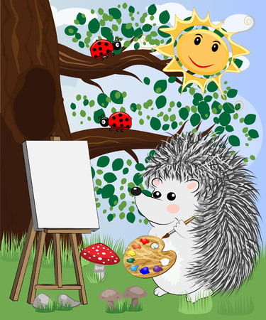 The artist hedgehog in the forest glade draws a picture on the easel. The concept of art, love. Festive card, birthday Ilustração