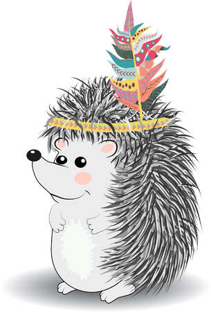 cute and funny Indian animal. A stylized illustration of an Indian hedgehog with feathers