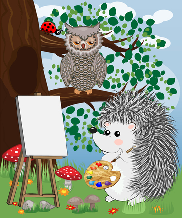 The artist hedgehog in the forest glade draws a picture on the easel. The concept of art, love. Owl on a tree branch. Festive card, birthday