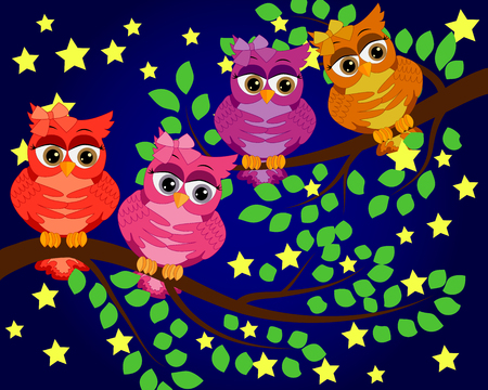 Good Night and Sweet dreams.Night scene with moon,stars and owl.Owl on the branch.Moon made from stars.Nature.