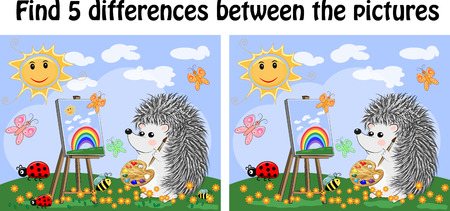 Find the differences between the pictures. A learning game for children. The hedgehog draws on an easel on a fairytale glade