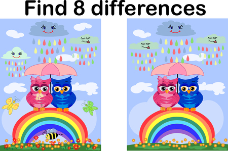 Find the differences between the pictures. Developmental game for children. Owls are sitting on a rainbow