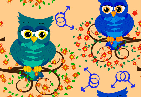 Seamless pattern with blue owl-boys on branches against the background of LGBT symbols, the concept of male love. Two owls gays in love