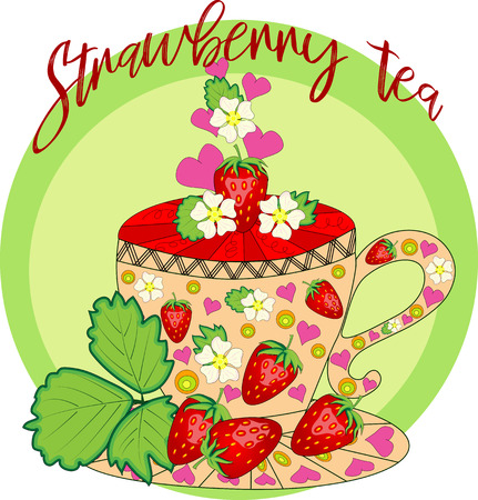 Strawberry tea. Tea cooked with love. A cup with strawberries, decorated with leaves and flowers