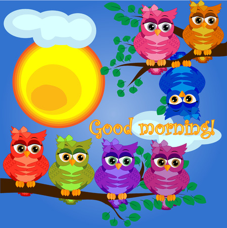 An sleepy owl on a tree branch in the morning, the sun shines and smiles. Inscription Good morning. Morning, breakfast Stock Illustratie