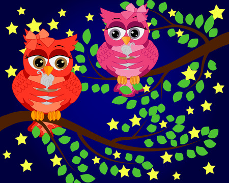 A bright, cartoon, beautiful, owls with a bow on the ear and a cup of coffee sits on a flowering tree branch 向量圖像