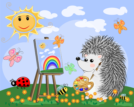 Artist hedgehog paints a picture of landscape in the nature. The concept of art, love. Cartoon landscape with sun, clouds, flowers