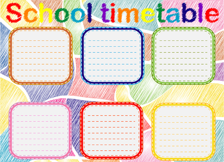 Template school timetable for students or pupils with days of week and free spaces for notes.