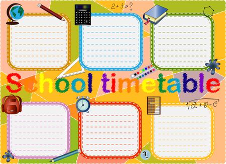 Schooltijdschema, een wekelijks curriculumontwerpsjabloon, schaalbare afbeelding