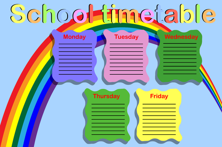 School timetable with a rainbow Illustration