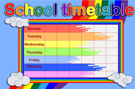 School timetable with a rainbow