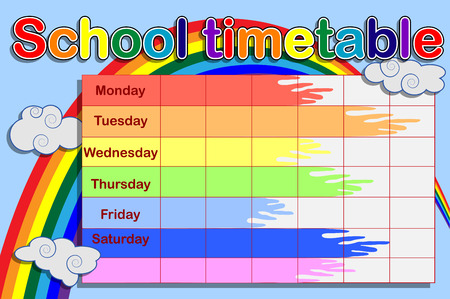 School timetable with paint cans and a rainbow 일러스트