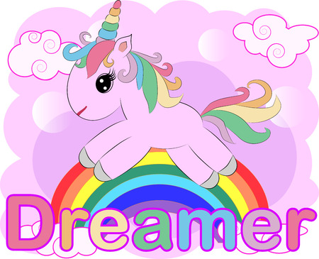 Pink unicorn on a rainbow. Child illustration, fairy-tale character, dreamer