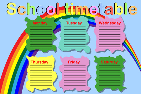 School timetable with paint cans and a rainbow Illustration