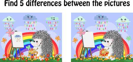 Find the differences between the pictures. Children's educational game. A hedgehog artist on a clearing with a rainbow draws on an easel