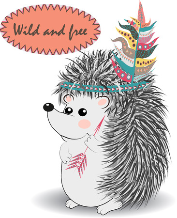 cute and funny Indian animal. A stylized illustration of an Indian hedgehog with feathers and an arrow Ilustracja