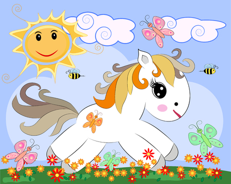 White pony in a clearing with flowers, rainbow, sun. Child illustration, fairy-tale character, dreamer