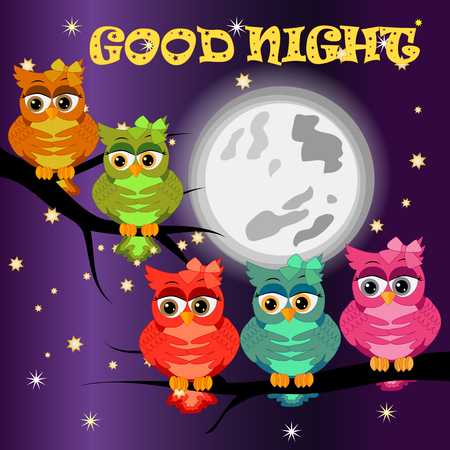 Good night card with moon and cute owl Vectores