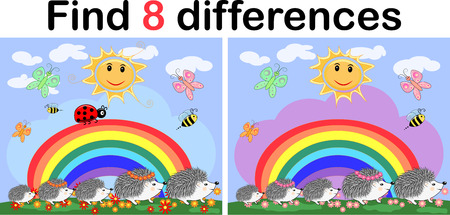Find the differences between the pictures. Childrens educational game. Hedgehogs on a sunny glade near the rainbow, ladybugs Illustration