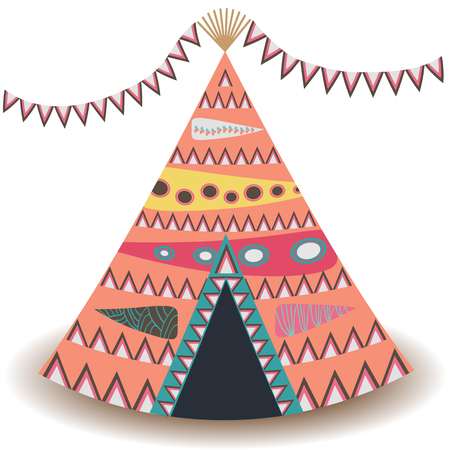 Indian tent or wigwam pierced isolated on white background. cartoon close-up illustration. Vetores