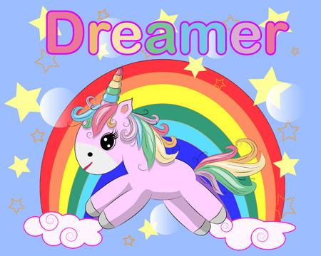 Pink unicorn on a rainbow. Child illustration, fairy-tale character, dreamer Ilustração