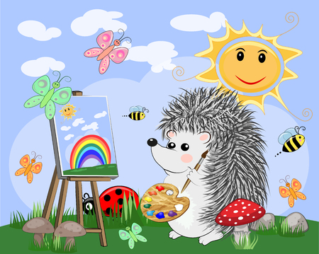 Artist hedgehog paints a picture of landscape in the nature. The concept of art, love. Cartoon landscape with sun, clouds, flowers Ilustracja