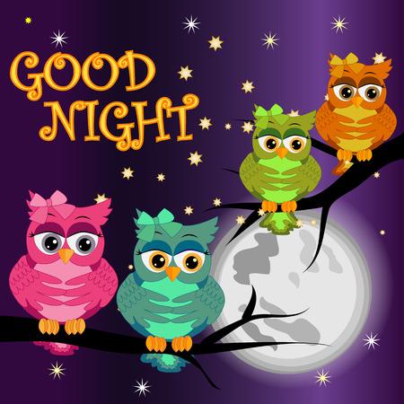 Tarjeta de buenas noches con búhos durmiendo y luna.