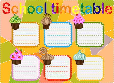Template school timetable for students or pupils with free spaces for notes.