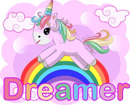 Pink unicorn on a rainbow. Child illustration, fairy-tale character, dreamer
