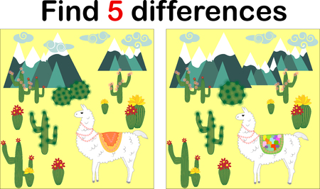 Find the differences between the pictures. Children's educational game. Sweet llama, alpaca among cacti and mountains Çizim