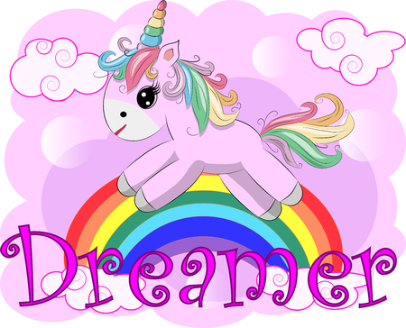 Pink unicorn on a rainbow. Child illustration, fairy-tale character, dreamer Illustration