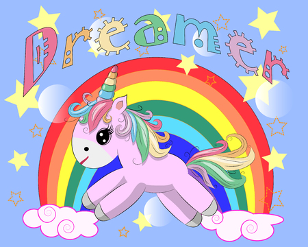 Pink unicorn on a rainbow. Child illustration, fairy-tale character, dreamer Vettoriali
