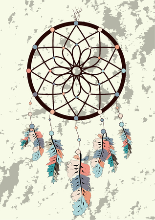 Illustration with hand drawn dream catcher. Feathers and beads. Doodle drawing.