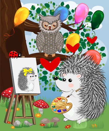 The artist hedgehog in the forest glade draws a picture on the easel. The concept of art, love. Owl on a tree branch. Illustration