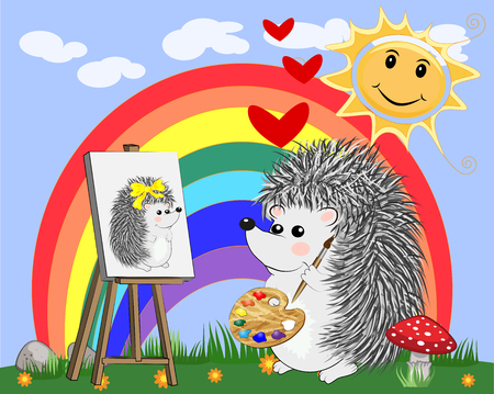 Artist hedgehog paints a picture. The concept of art, love. The artist paints a portrait of his beloved.