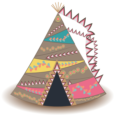 Indian tent or wigwam pierced isolated on white background. cartoon close-up illustration.