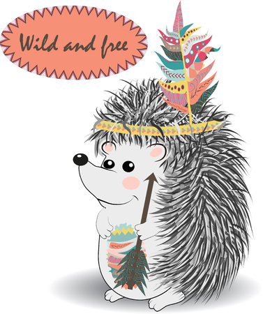 collection of cute and funny Indian animals. A stylized illustration of an Indian hedgehog with feathers Illustration