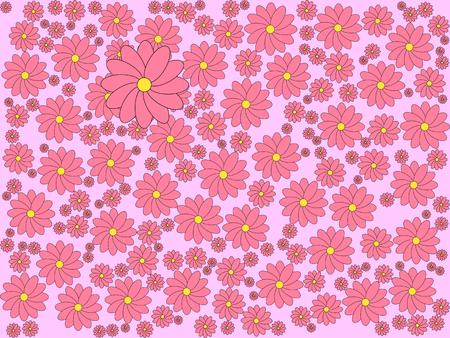 Sakura blossoms on light Pink color background. Illustration