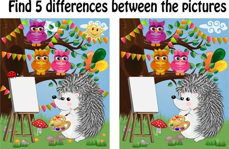 Encuentra las diferencias entre las imágenes. Juego educativo para niños.