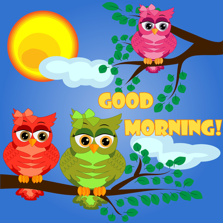 Cute coquettish owls with coffee sits on a tree. postcard, cartoon children's style, spring. Inscription Good morning. Ilustração