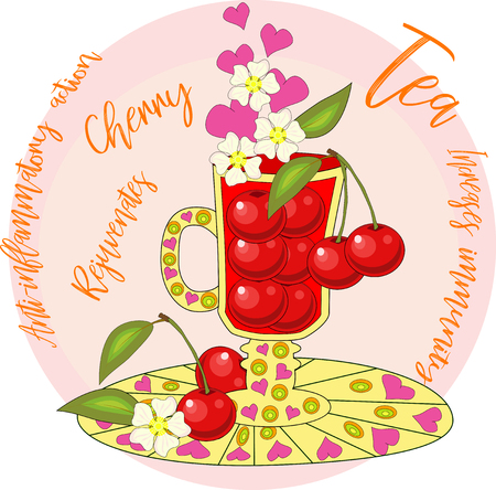 Cherry tea. Tea cooked with love. A tall glass for mulled wine with berries of cherry, decorated with leaves and flowers
