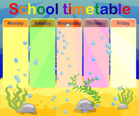 Design of the school timetable for kids. Bright underwater background for the planning of the school week