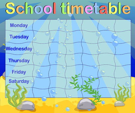 School timetable with marine themes, table, underwater world Vecteurs