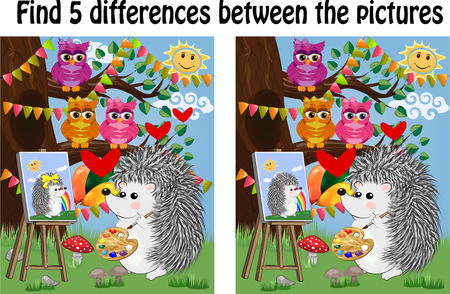 Find the differences between the pictures. Children's educational game. A hedgehog on a forest glade draws on an easel, owls sit on a tree branch and admire Ilustração