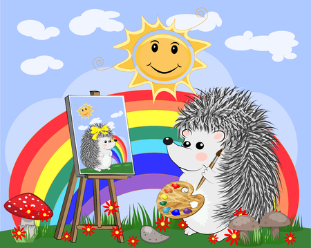 Artist hedgehog paints a picture of landscape in the nature. The concept of art, love. The artist paints a portrait of his beloved. Cartoon landscape with sun, clouds, flowers