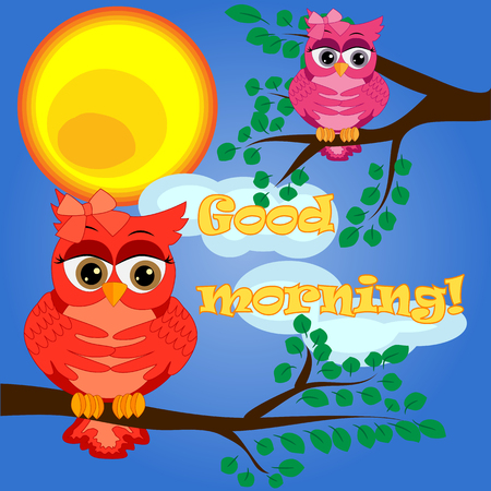 An sleepy owl on a tree branch in the morning, the sun shines and smiles. Inscription Good morning. Morning, breakfast Vectores